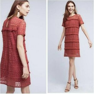Anthropologie Fringed Lace Brick Red Tunic Dress
